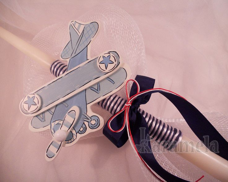 "Easter Lambades Airplane Theme Adorable airplane with netting on 15"" ivory candle $20.00 each"
