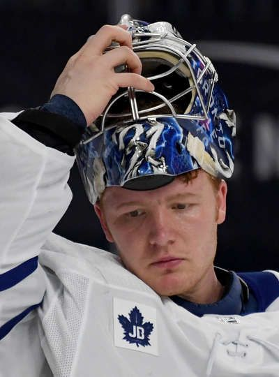 LAS VEGAS, NV - DECEMBER 31: Frederik Andersen #31 of the Toronto Maple Leafs puts his mask on during a stop in play in the second period of a game against the Vegas Golden Knights at T-Mobile Arena on December 31, 2017 in Las Vegas, Nevada. The Golden Knights won 6-3. (Photo by Ethan Miller/Getty Images)