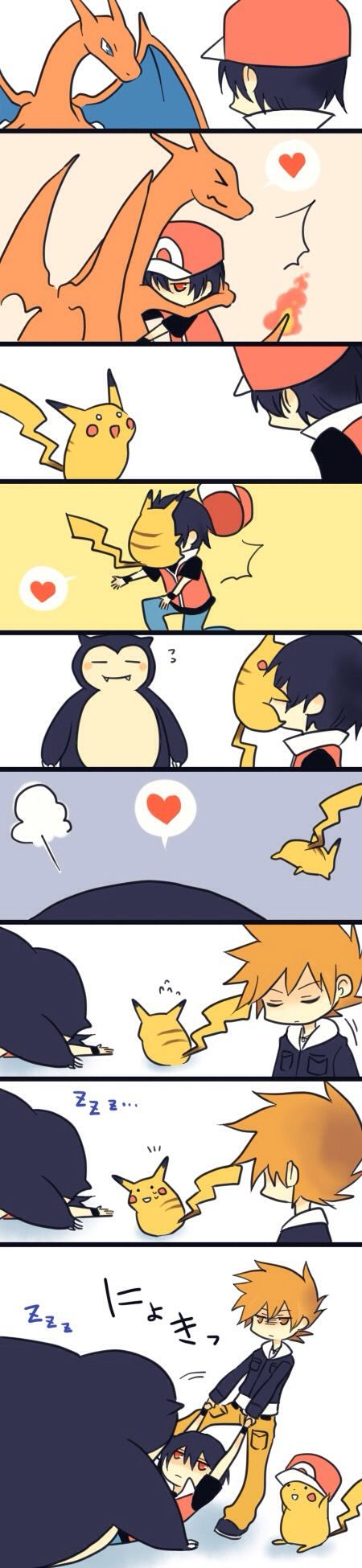 Love pikachu wearing his hat in the last panel XD