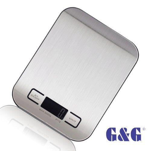 G&G KI 5kg/1g Küchenwaage Briefwaage Tischwaage Digitalwaage Scale (Schwarz)