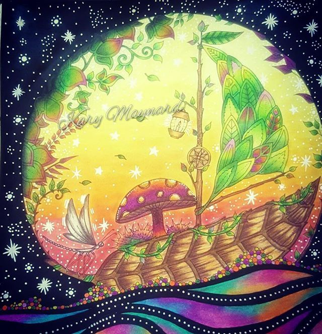 Johannabasford Enchantedforest Drawing ThingsSailing BoatAdult ColoringColoring BooksMushroomBook