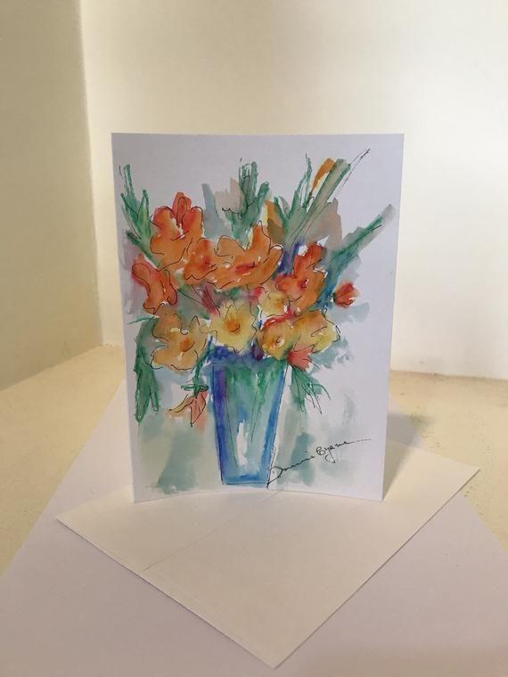 Flower Vase Original Watercolor Greeting Cards Hand Painted