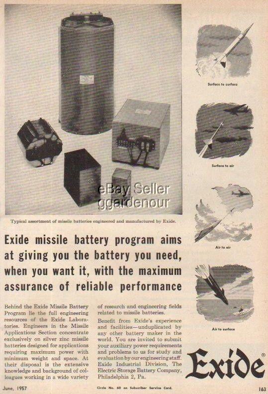 1957 Exide Missile/Rocket Batteries Battery Division Ad
