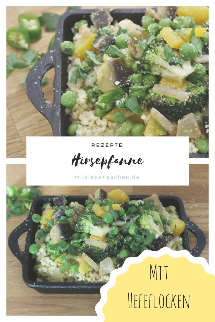 Eine leckere herzhafte Hirse-Gemüse-Pfanne mit einer veganen Hefeflocken-Sauce, gut für ein leichtes und gesundes Abendessen und schnell zubereitet.