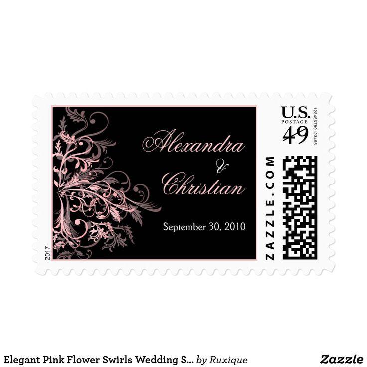 Elegant Pink Flower Swirls Wedding Save The Date Postage #Elegant #Pink #Flower #Swirls #Wedding #SaveTheDate #Postage #weddingpostage