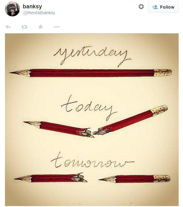 An image showing snapped pencils posted by artist Banksy