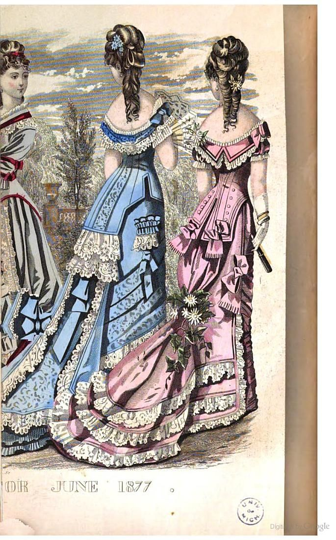 Fashion plate from Godey's Magazine, Vol. 94, June 1877. (Description of the dresses is here: http://books.google.com/books?id=eJVMAAAAMAAJ&pg=PA556#v=onepage&q&f=false)