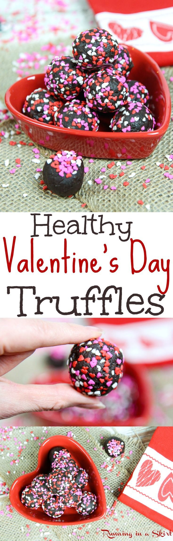 Clean Eating Healthy Chocolate & Date Truffles recipe for Valentine's Day.  Only 4 Ingredients.  The perfect easy, raw vegan energy bites dessert recipes!  This dairy free treat is delicious and features almond butter or your favorite nut butter.  / Running in a Skirt