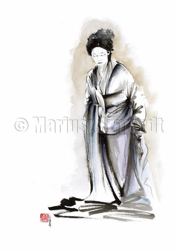 Geisha classic classical kimono old japan Tokyo Kioto blue gold  natural clothes PAINTING watercolor ink original watercolors black white