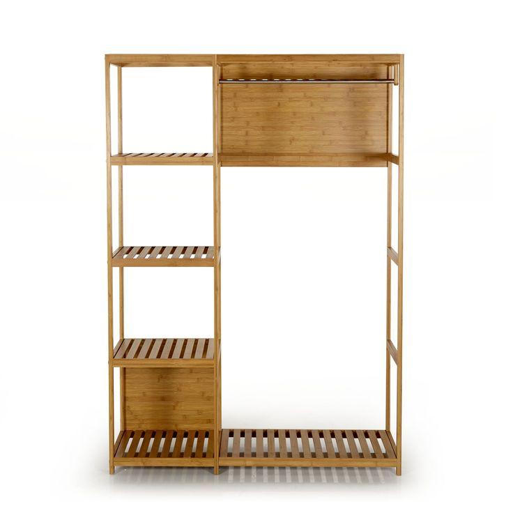 armoire en bambou avec tringle et tablettes naturel noe les armoires en tissu
