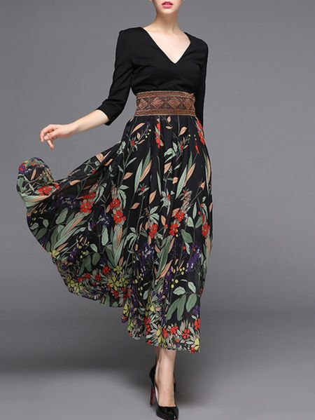 Black 3/4 Sleeve V Neck Printed/Dyed Maxi Dress