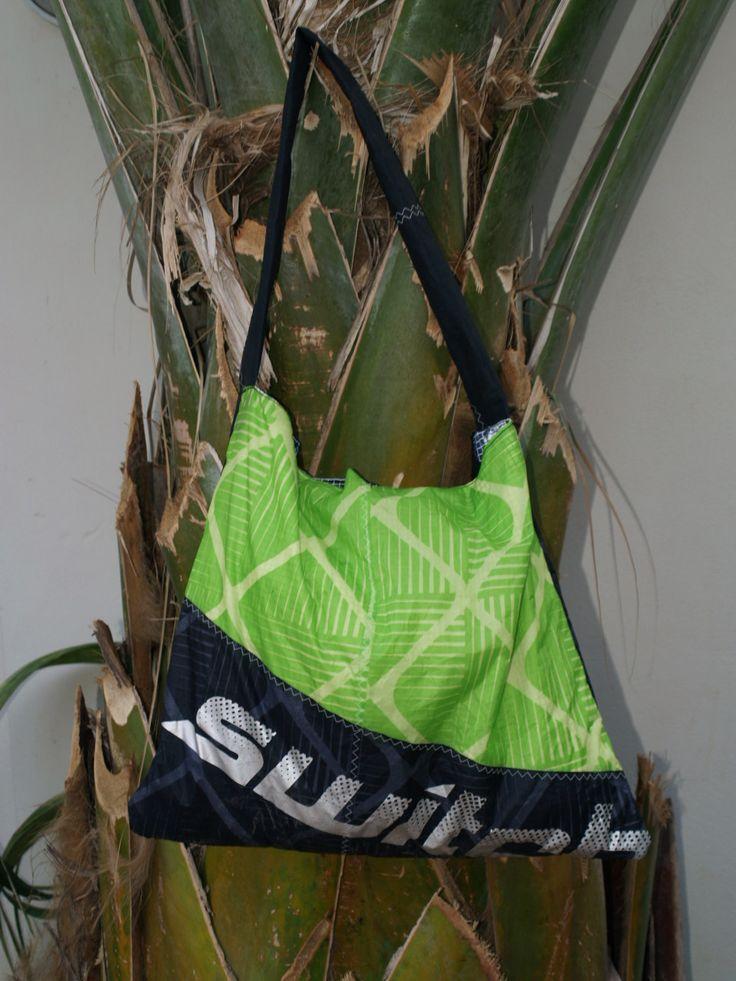 Green beachbag made of kitesurf material