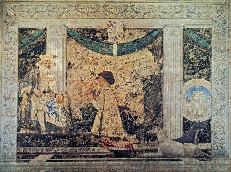 Piero della Francesca - Sigismondo Malatesta before St. Sigismondo - fresco at Rimini Chapel, Rimini - 1451