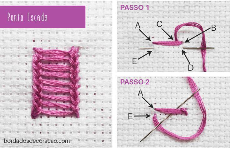 Ponto Escada Veja o passo a passo completo no blog: http://bordadosdecoracao.com/ponto-escada/