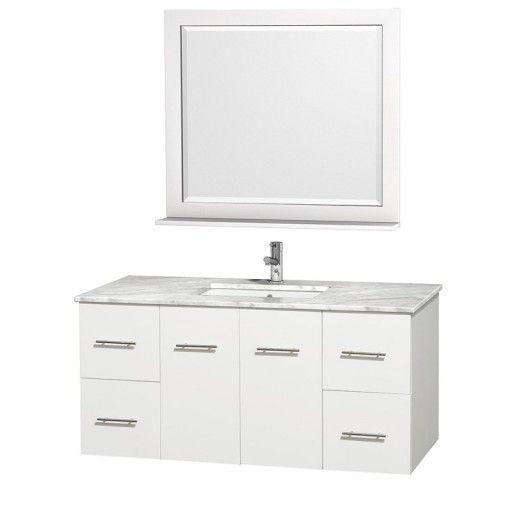 "Wyndham Collection Centra 48"" Single Bathroom Vanity for Undermount Sinks - Matte White WC-WHE009-48-SGL-VAN-WHT-"