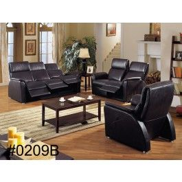New Black Genuine Leather Sofa with recliners - in white!  ALL recliners!
