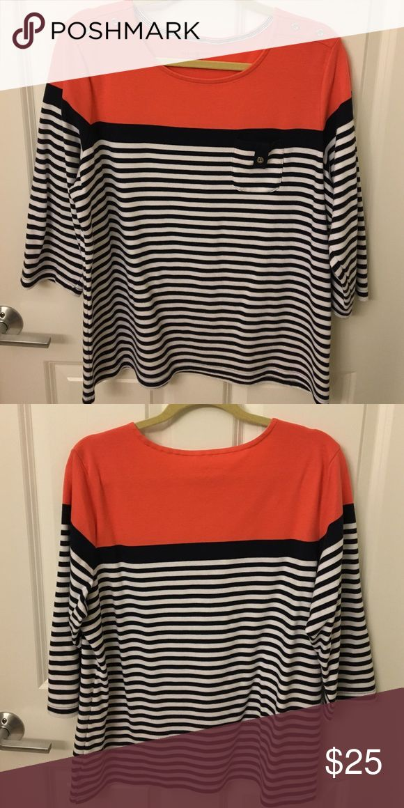 Navy blue and coral three quarter sleeve top Karen Scott Sport Women's three quarter sleeve shirt- navy blue and white stripes and coral at the top. Worn a few times. Karen Scott Tops Tees - Long Sleeve