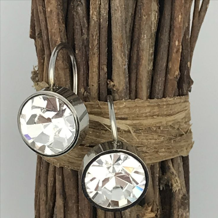 Crystallised White earrings, featuring white Swarovski crystals on stainless steel