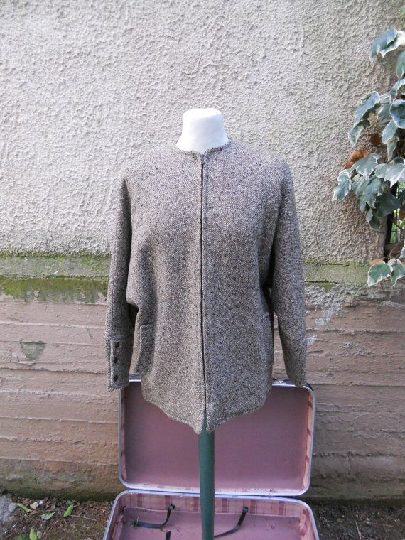 FREE Registered Shipping  Vintage 80s tweed cream black by IL2C