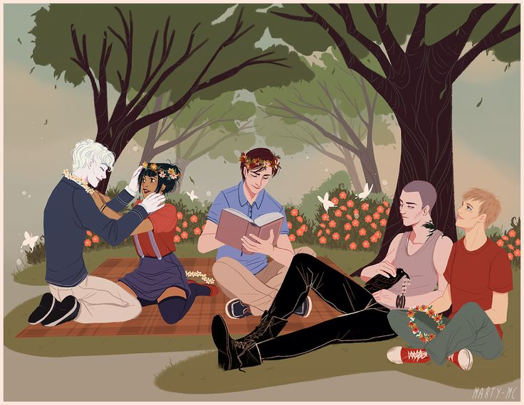 """dreamingincabeswater: """" The Raven Gang enjoying some much needed time off just relaxing in Cabeswater. This is everything I've ever wanted for them. Comission/Art by marty-mc. """""""