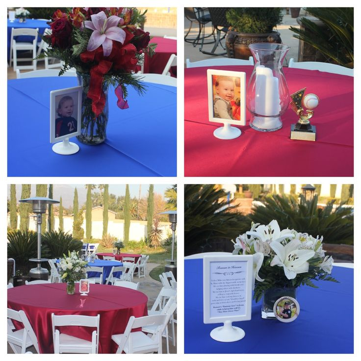 celebration-of-life-reception. Each table had a photo ...