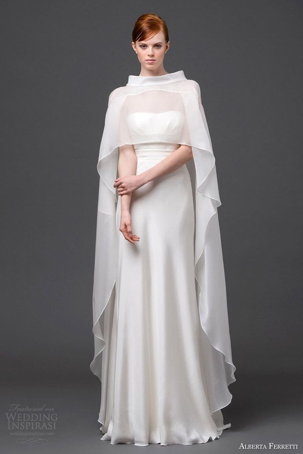 alberta ferretti bridal 2015 strapless wedding dress cape sirio