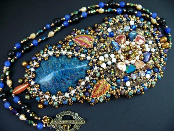 Bead embroidered Pendant necklace Beadwork Ooak от MaewaDesign