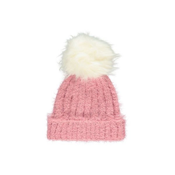 Bobble Knitted Bobble Hat ($9.70) ❤ liked on Polyvore featuring accessories, hats, pink, fur bobble hat, bobble beanie, cable hat, fur pom-pom hats and cable knit pom pom hat