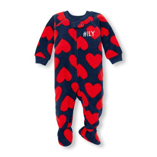 Baby And Toddler Girls Long Sleeve 'Hashtag Ily' Heart Printed Footed Blanket Sleeper