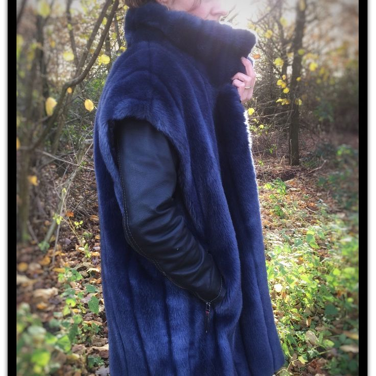 Winter is coming! Be warm and fashionable with this deep blue faux fur vest. Also wereable as a coat with matching detachable sleeves. Original eighties vintage! - by ChrisVintageStyle