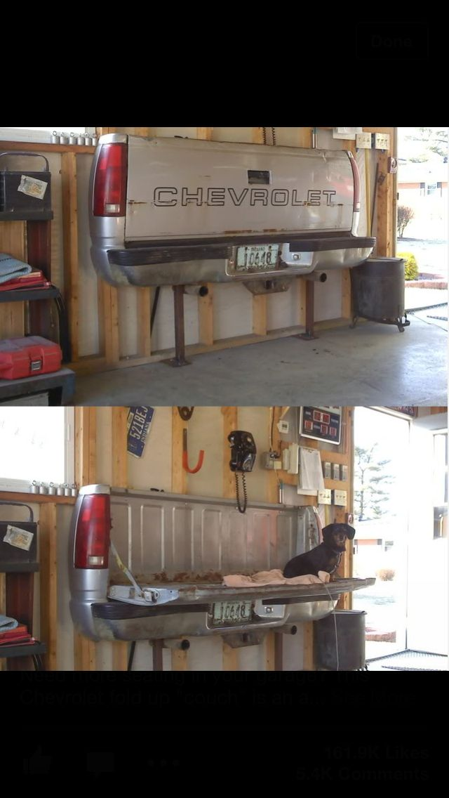 Tailgate at home - this would make a great fold down workbench in the garage