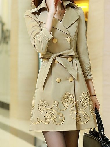 New Arrival Office Street Lapel Long Sleeve   Trench-coat Trench Coats from fashionmia.com