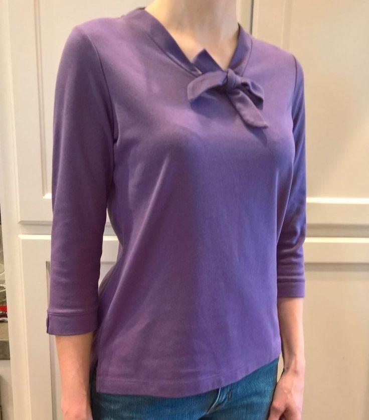 LANDS END Bow Purple Womens Top Sz M Shirt knit #LandsEnd #KnitTop