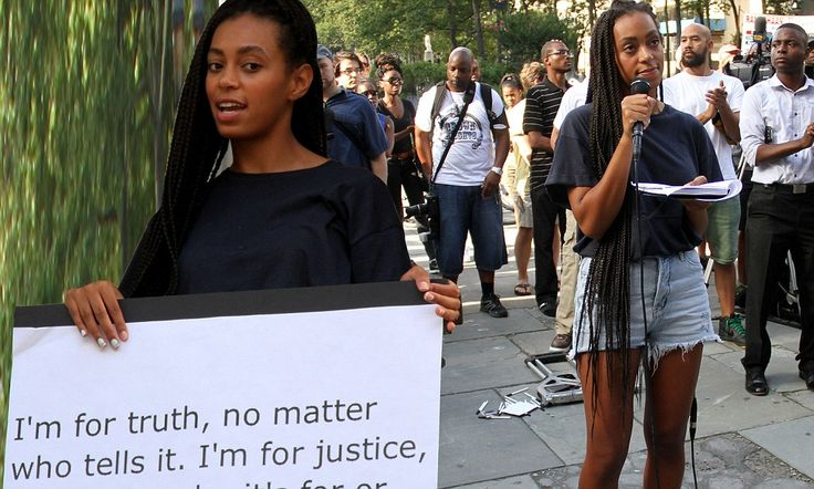 'I'm for truth... I'm for justice': Beyonce's sister Solange Knowles quotes Malcolm X as she leads rally in protest of Zimmerman not guilty verdict