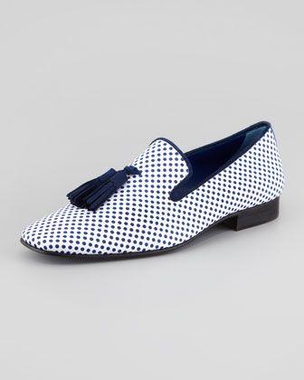 Hadleigh's Polka Dot-Print Tassel Loafer - Neiman Marcus