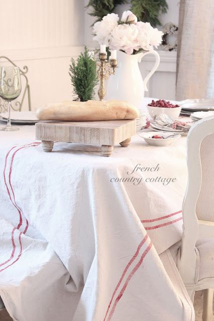 drop cloth painted to look like a grain sack French Country Tablecloth
