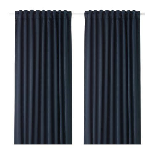 IKEA - MAJGULL, Tenda oscurante, 2 teli, , Le tende oscuranti hanno uno speciale rivestimento che evita che filtri la luce.Protegge dalle correnti d'aria in inverno e dal caldo in estate.Le tende si possono appendere su un bastone per tende o sul binario per tende.Il nastro sul bordo superiore ti permette di creare facilmente delle pieghe usando i ganci per tenda RIKTIG.Puoi appendere le tende a un bastone per tende usando i passanti nascosti oppure utilizzando anelli e ganci.