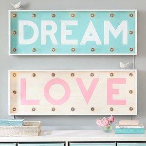 PB Teen Light Up The Town Marquee Lights, Pink Love at Pottery Barn Teen - Teen & Kids Bedroom Wall Lights -