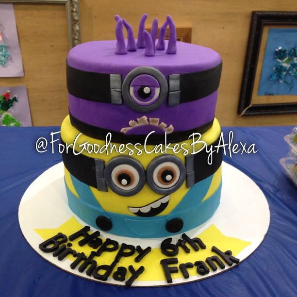 Regular and crazy purple minion cake from Despicable me ...