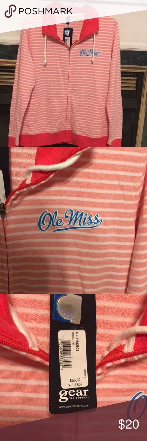 Jacket NWT Ole Miss zip up jacket. Peach/coral and white stripes. Cotton/polyester blend. Gear for Sports Jackets & Coats