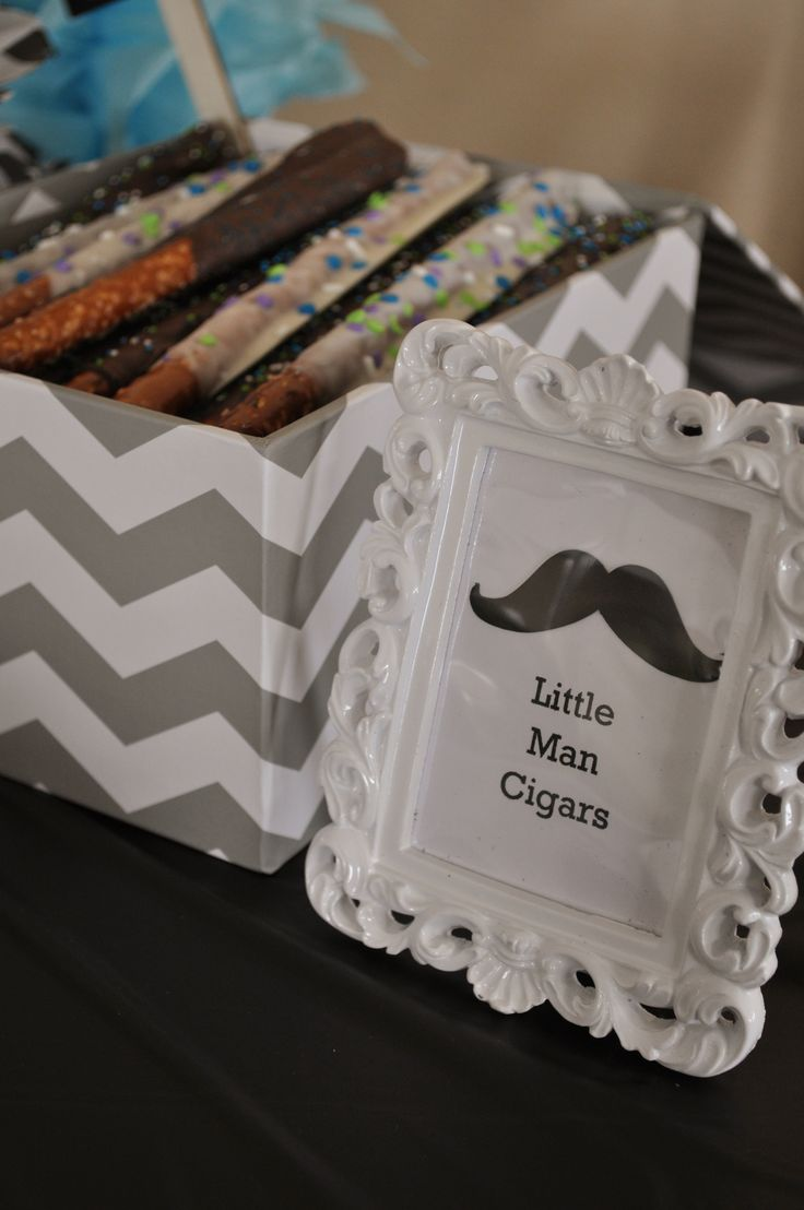 Little Man Mustache Baby Shower Little Man Cigars (Pretzel rods dipped in chocolate and white chocolate almond bark)