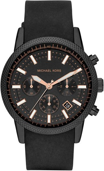 Michael Kors Mens Black Silicone Scout Chronograph Watch in Black for Men