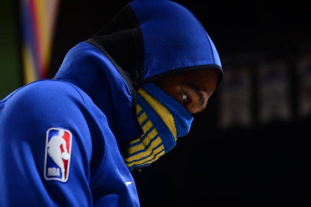 Kevin Durant of the Golden State Warriors looks on during