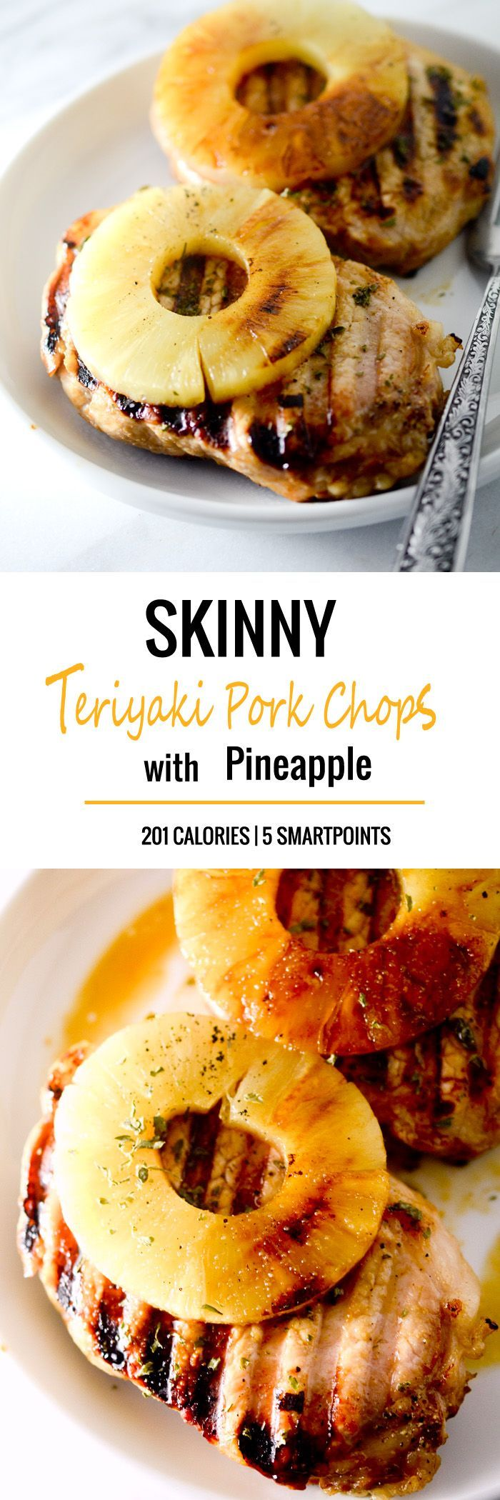 Skinny Teriyaki Pork Chops with Pineapple - 201 Calories, 5 Smartpoints - Recipe Diaries