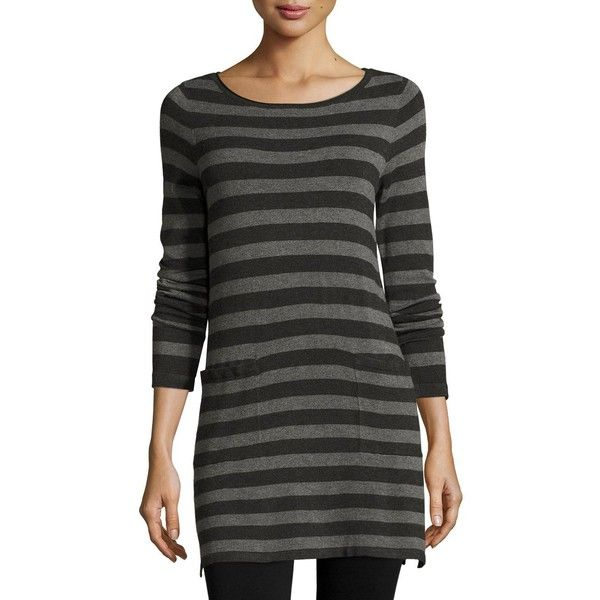 Eileen Fisher Long-Sleeve Striped Tunic W/ Pockets ($248) ❤ liked on Polyvore featuring tops, tunics, dark gray, striped tunic, striped top, boatneck tunic, boat neck striped top and boat neck tops