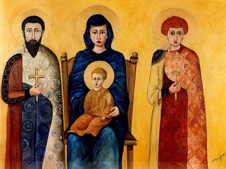 Madonna con Santi - olio su tela (50x70 cm )