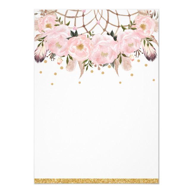 Blush Floral Dream Catcher Baby Shower Girl Boho Invitation