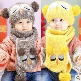 gratis verzending kids' warme wollen muts met sjaal, mooie uil patroon voor kinderen oorklep muts(China (Mainland))
