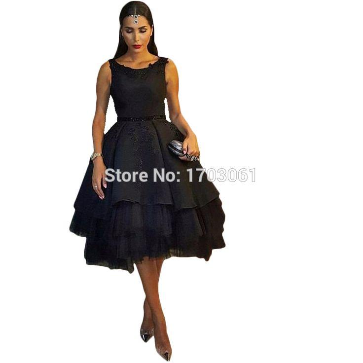 Haute Couture Fashion Formal Black Ball Gowns Appliques Celebrity To Prom Dresses 2016 Sukienki Short Evening Vestido De Festa