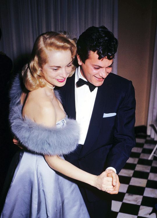 """msmildred: """"""""Film stars Tony Curtis and his wife Janet Leigh enjoying a dance at a party held at James Mason's home in Beverly Hills, 1954. """" """""""